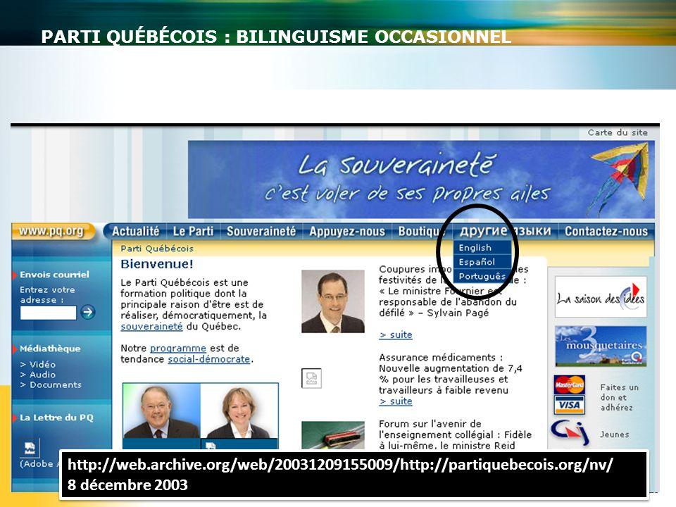 PARTI QUÉBÉCOIS : BILINGUISME OCCASIONNEL http://web.archive.org/web/20031209155009/http://partiquebecois.org/nv/ 8 décembre 2003 http://web.archive.o