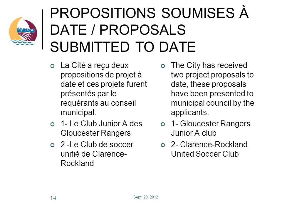 PROPOSITIONS SOUMISES À DATE / PROPOSALS SUBMITTED TO DATE La Cité a reçu deux propositions de projet à date et ces projets furent présentés par le re