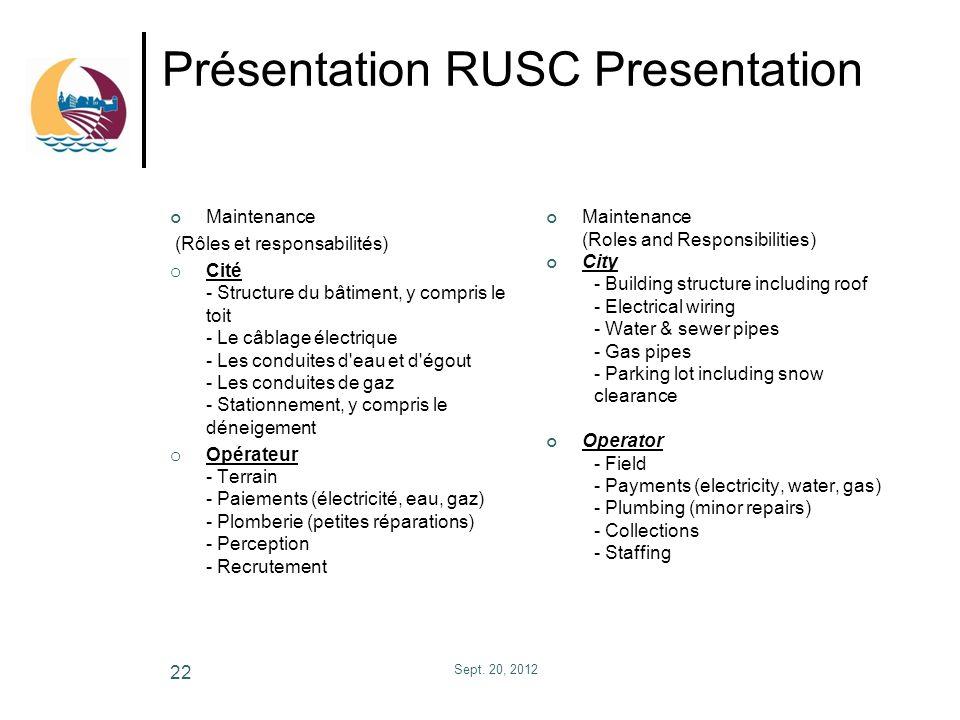 Présentation RUSC Presentation Maintenance (Rôles et responsabilités) o Cité - Structure du bâtiment, y compris le toit - Le câblage électrique - Les