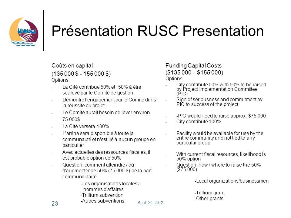 Présentation RUSC Presentation Coûts en capital (135 000 $ - 155 000 $) Options: - La Cité contribue 50% et 50% à être soulevé par le Comité de gestio