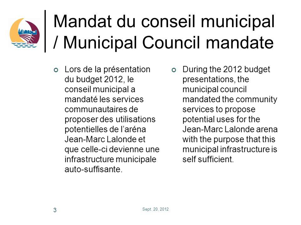 Mandat du conseil municipal / Municipal Council mandate Lors de la présentation du budget 2012, le conseil municipal a mandaté les services communauta