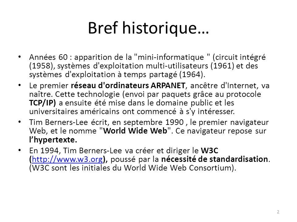 Bref historique… Années 60 : apparition de la mini-informatique (circuit intégré (1958), systèmes d exploitation multi-utilisateurs (1961) et des systèmes d exploitation à temps partagé (1964).