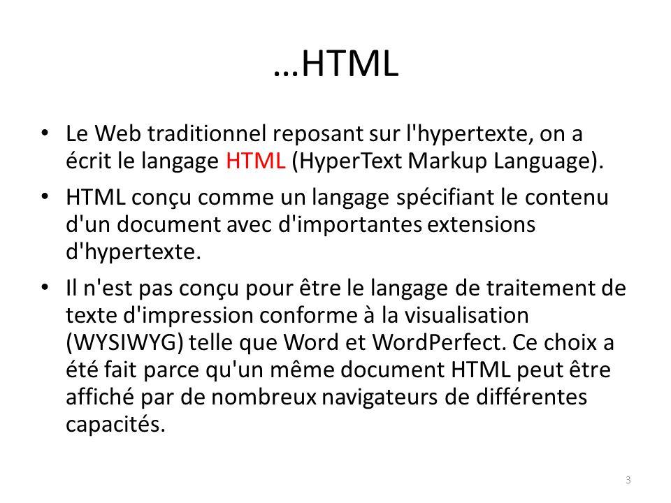 …HTML Le Web traditionnel reposant sur l hypertexte, on a écrit le langage HTML (HyperText Markup Language).