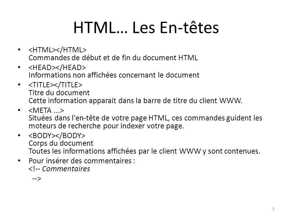 HTML… Les En-têtes Commandes de début et de fin du document HTML Informations non affichées concernant le document Titre du document Cette information apparait dans la barre de titre du client WWW.