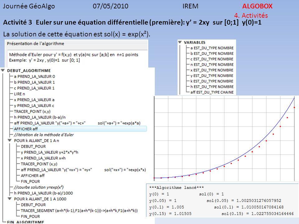 Journée GéoAlgo07/05/2010IREMALGOBOX 4. Activités Activité 3 Euler sur une équation différentielle (première): y = 2xy sur [0;1] y(0)=1 La solution de