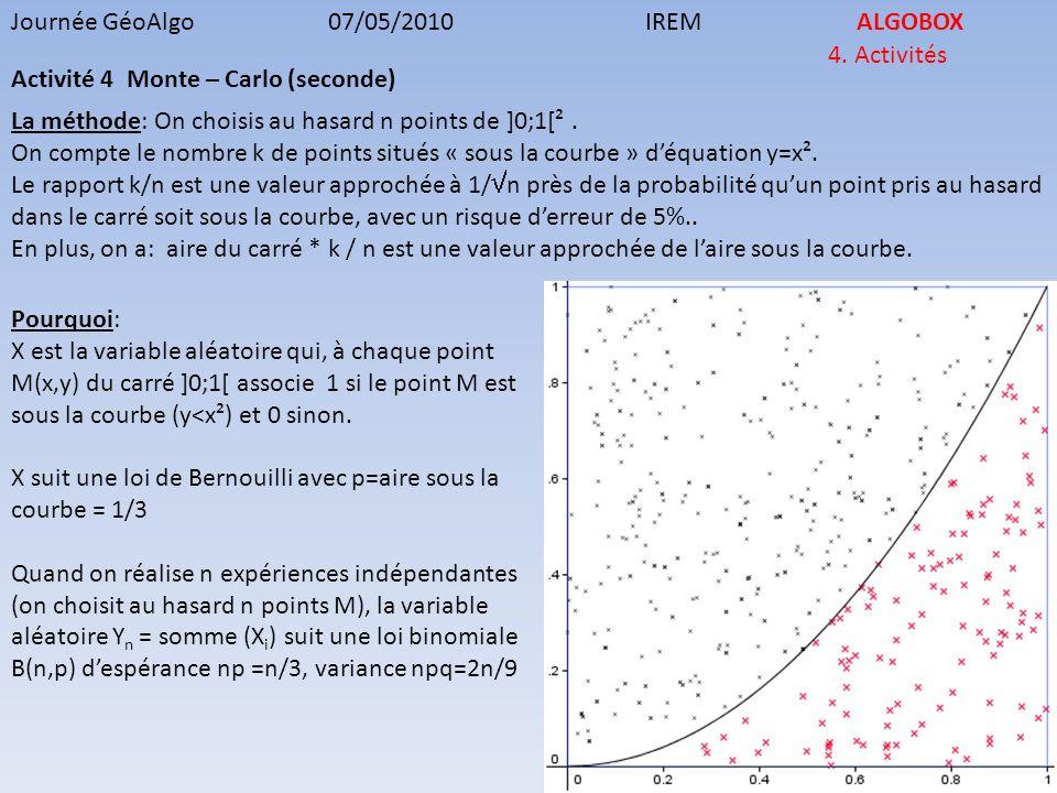 Journée GéoAlgo07/05/2010IREMALGOBOX 4. Activités Activité 4 Monte – Carlo (seconde) La méthode: On choisis au hasard n points de ]0;1[². On compte le