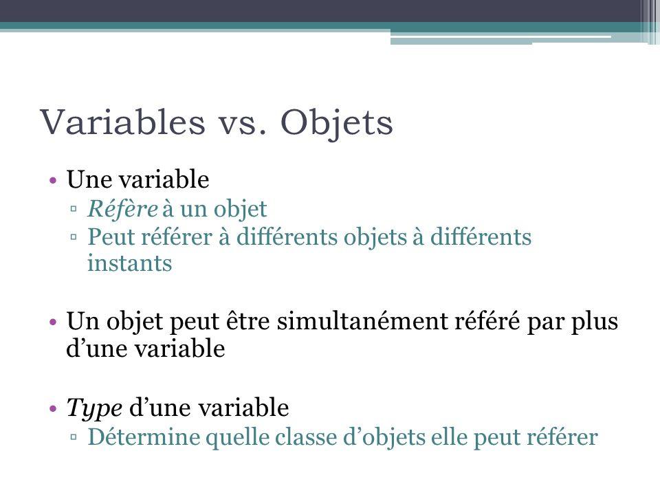 Variables vs. Objets Une variable Réfère à un objet Peut référer à différents objets à différents instants Un objet peut être simultanément référé par