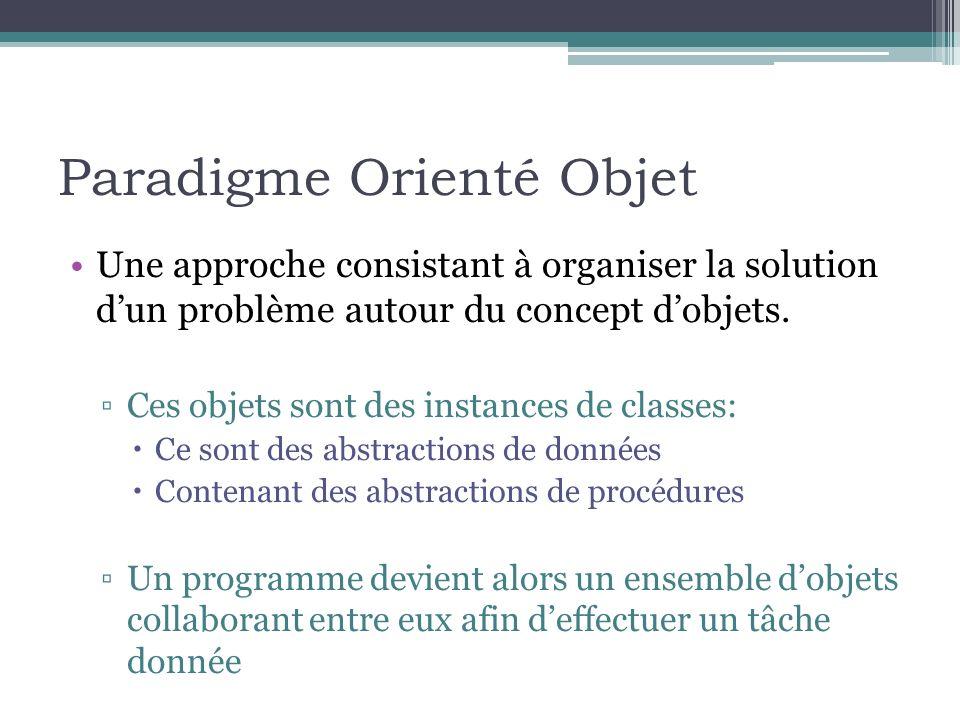 Paradigme Orienté Objet Une approche consistant à organiser la solution dun problème autour du concept dobjets. Ces objets sont des instances de class