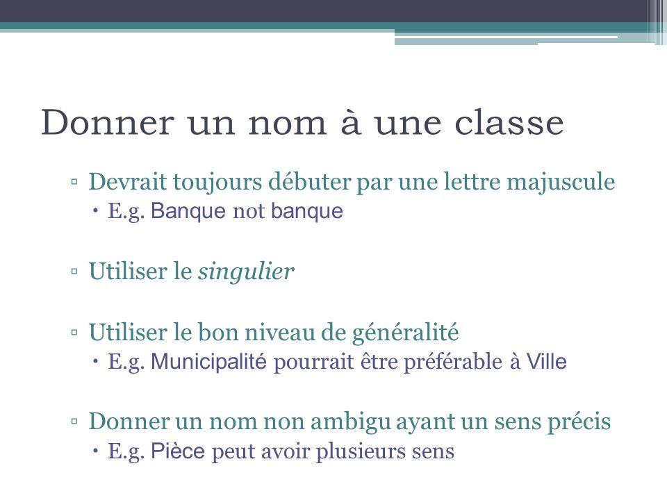 Donner un nom à une classe Devrait toujours débuter par une lettre majuscule E.g.