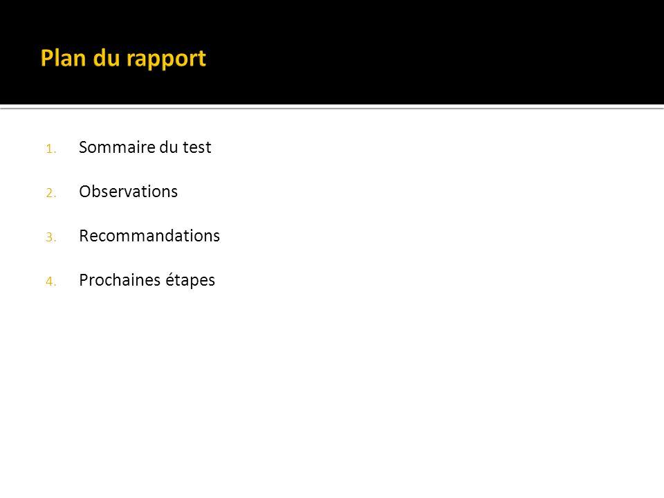 1. Sommaire du test 2. Observations 3. Recommandations 4. Prochaines étapes