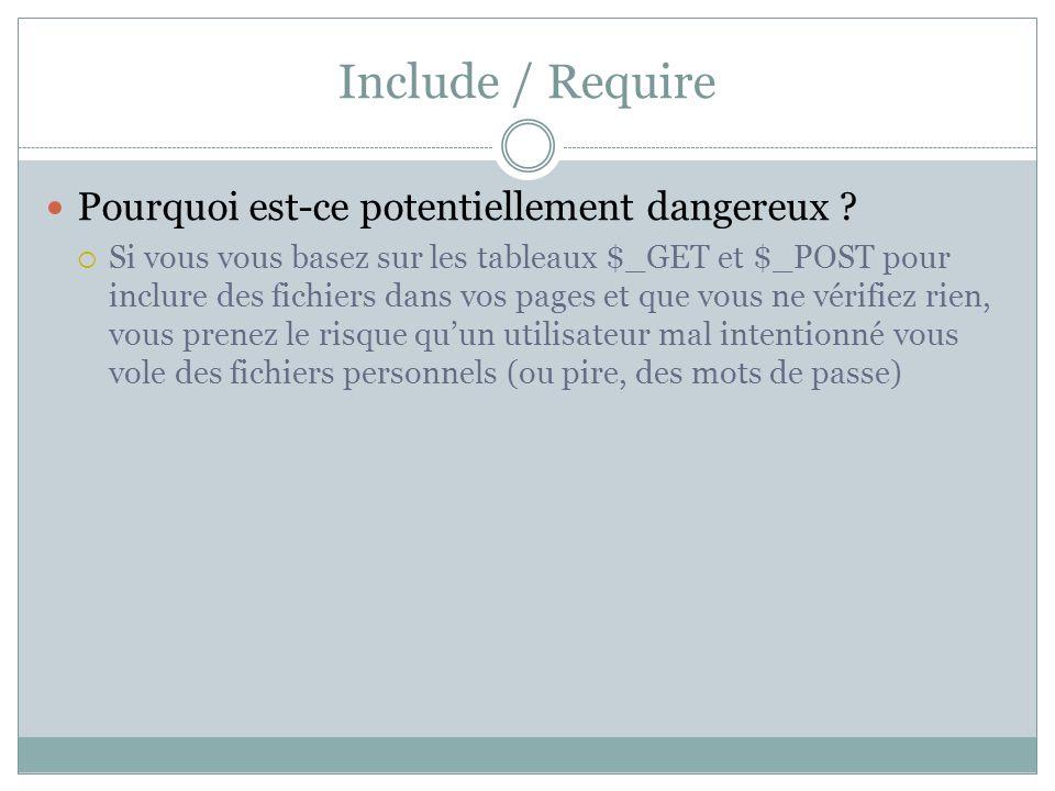 Include / Require Pourquoi est-ce potentiellement dangereux ? Si vous vous basez sur les tableaux $_GET et $_POST pour inclure des fichiers dans vos p
