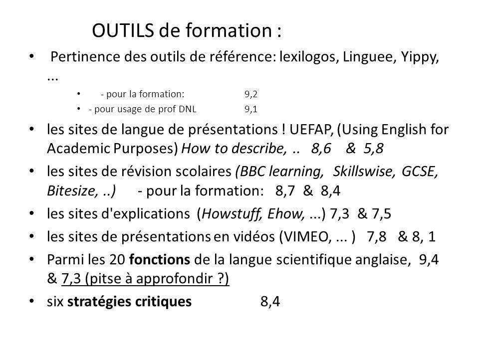 OUTILS de formation : Pertinence des outils de référence: lexilogos, Linguee, Yippy,... - pour la formation: 9,2 - pour usage de prof DNL 9,1 les site