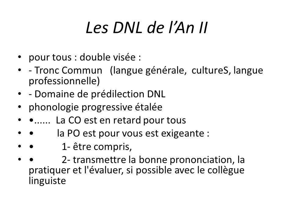 Les DNL de lAn II pour tous : double visée : - Tronc Commun (langue générale, cultureS, langue professionnelle) - Domaine de prédilection DNL phonolog