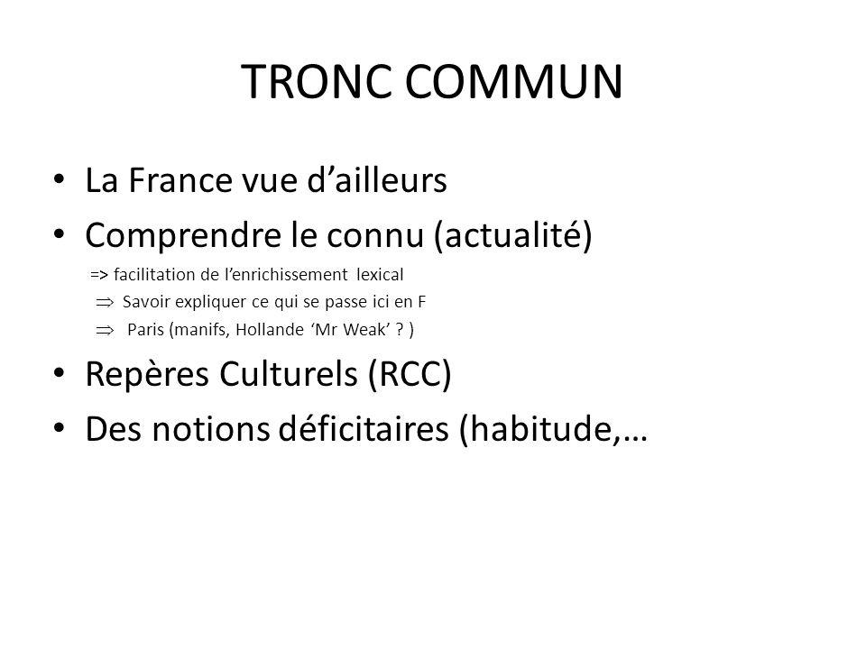 TRONC COMMUN La France vue dailleurs Comprendre le connu (actualité) => facilitation de lenrichissement lexical Savoir expliquer ce qui se passe ici e