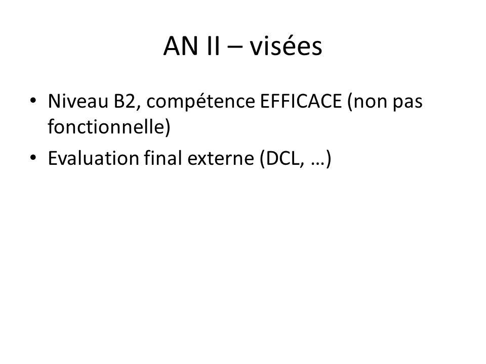 AN II – visées Niveau B2, compétence EFFICACE (non pas fonctionnelle) Evaluation final externe (DCL, …)