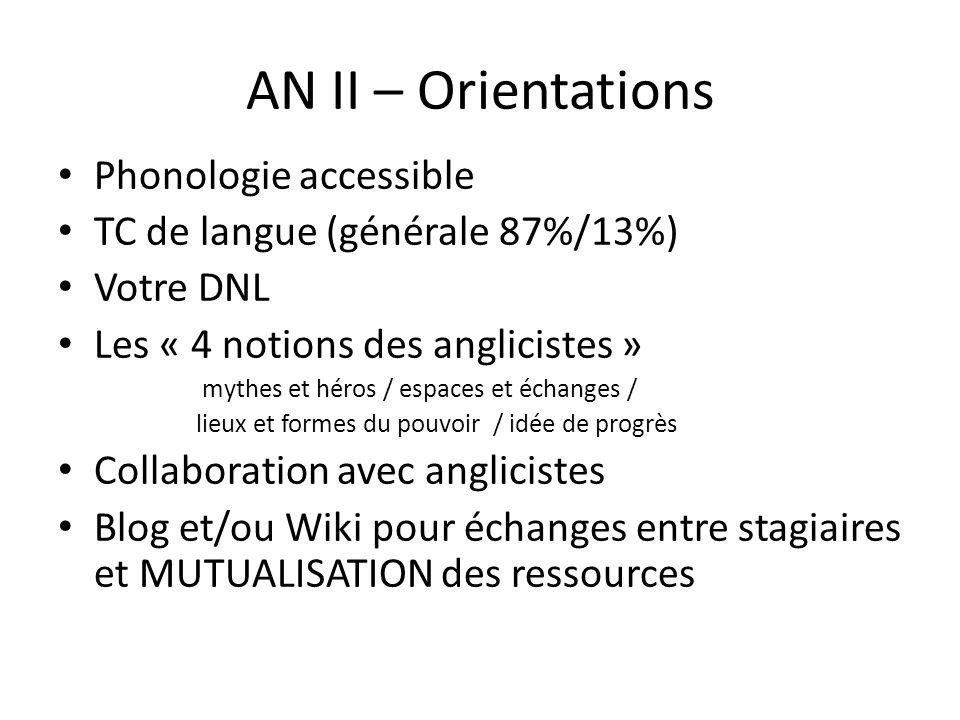 AN II – Orientations Phonologie accessible TC de langue (générale 87%/13%) Votre DNL Les « 4 notions des anglicistes » mythes et héros / espaces et éc
