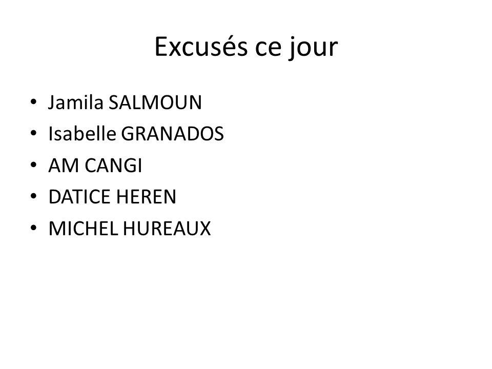 Excusés ce jour Jamila SALMOUN Isabelle GRANADOS AM CANGI DATICE HEREN MICHEL HUREAUX