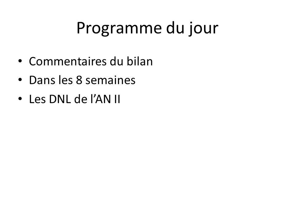 Programme du jour Commentaires du bilan Dans les 8 semaines Les DNL de lAN II