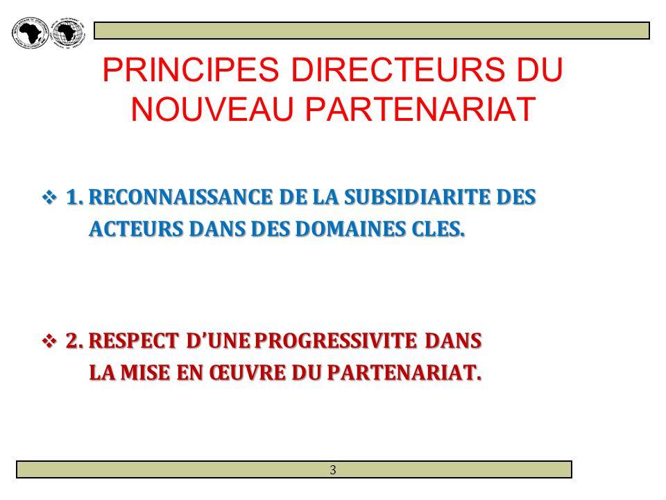 PRINCIPES DIRECTEURS DU NOUVEAU PARTENARIAT 3.RECHERCHE SYSTEMATIQUE DE LA SOUTENABILITE 3.