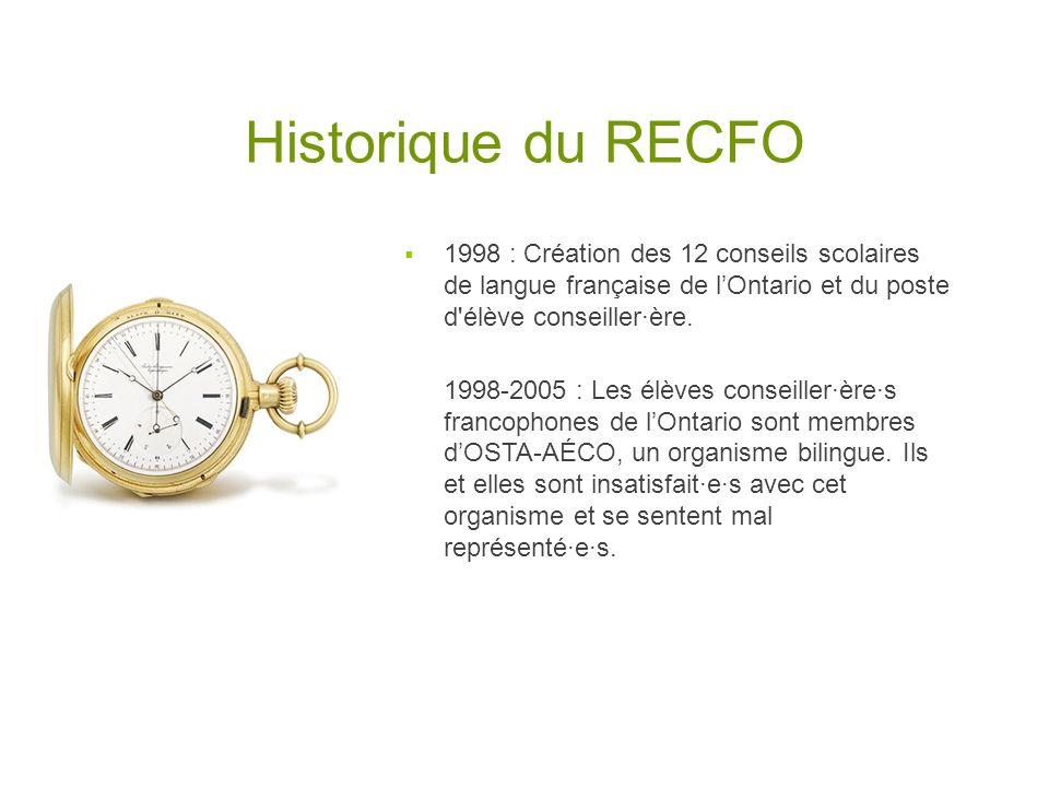 Historique du RECFO 1998 : Création des 12 conseils scolaires de langue française de lOntario et du poste d'élève conseiller·ère. 1998-2005 : Les élèv