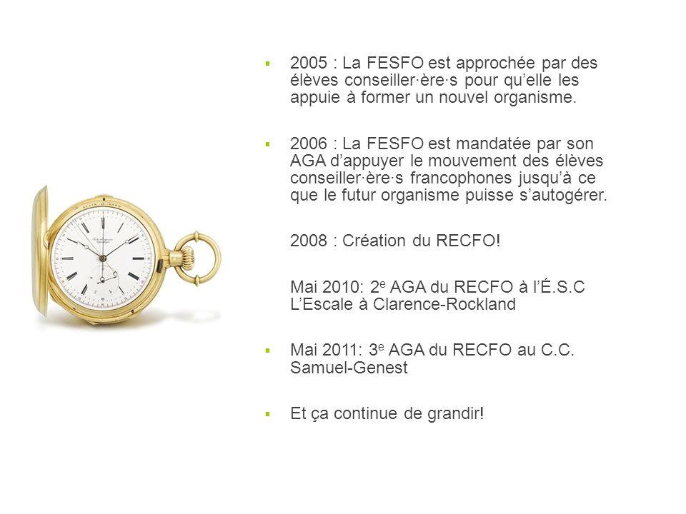 2005 : La FESFO est approchée par des élèves conseiller·ère·s pour quelle les appuie à former un nouvel organisme. 2006 : La FESFO est mandatée par so