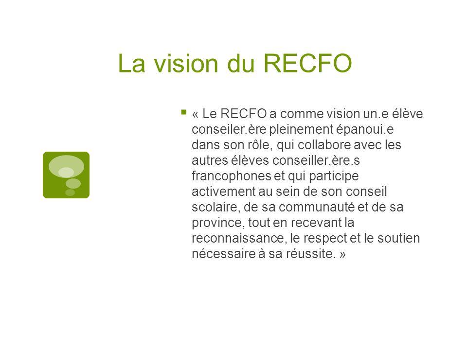 La vision du RECFO « Le RECFO a comme vision un.e élève conseiler.ère pleinement épanoui.e dans son rôle, qui collabore avec les autres élèves conseil