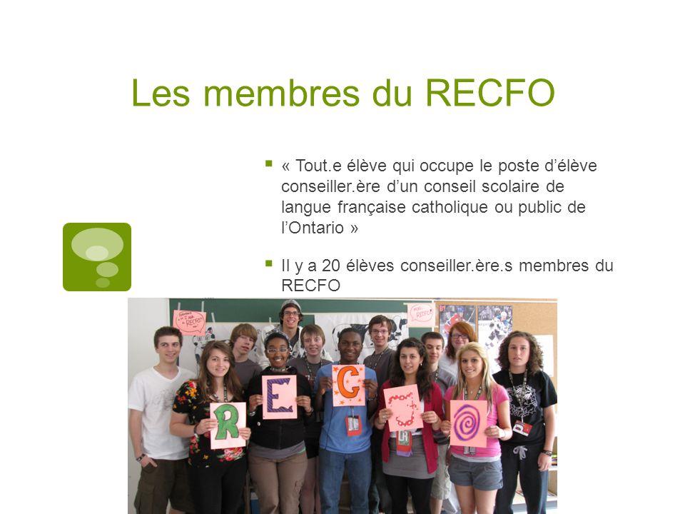 Les membres du RECFO « Tout.e élève qui occupe le poste délève conseiller.ère dun conseil scolaire de langue française catholique ou public de lOntario » Il y a 20 élèves conseiller.ère.s membres du RECFO
