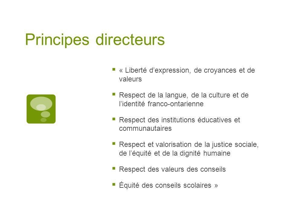 Principes directeurs « Liberté dexpression, de croyances et de valeurs Respect de la langue, de la culture et de lidentité franco-ontarienne Respect d