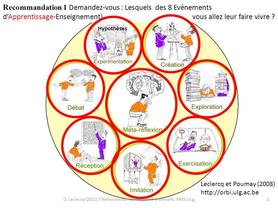 D. Leclercq (2012) 7 Réflexions sur les exposés transmissifs. IFRES-ULg2 Leclercq et Poumay (2008) http://orbi.ulg.ac.be Recommandation 1 Demandez-vou