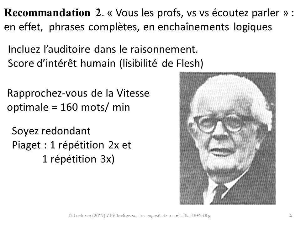 D. Leclercq (2012) 7 Réflexions sur les exposés transmissifs. IFRES-ULg4 Recommandation 2. « Vous les profs, vs vs écoutez parler » : en effet, phrase