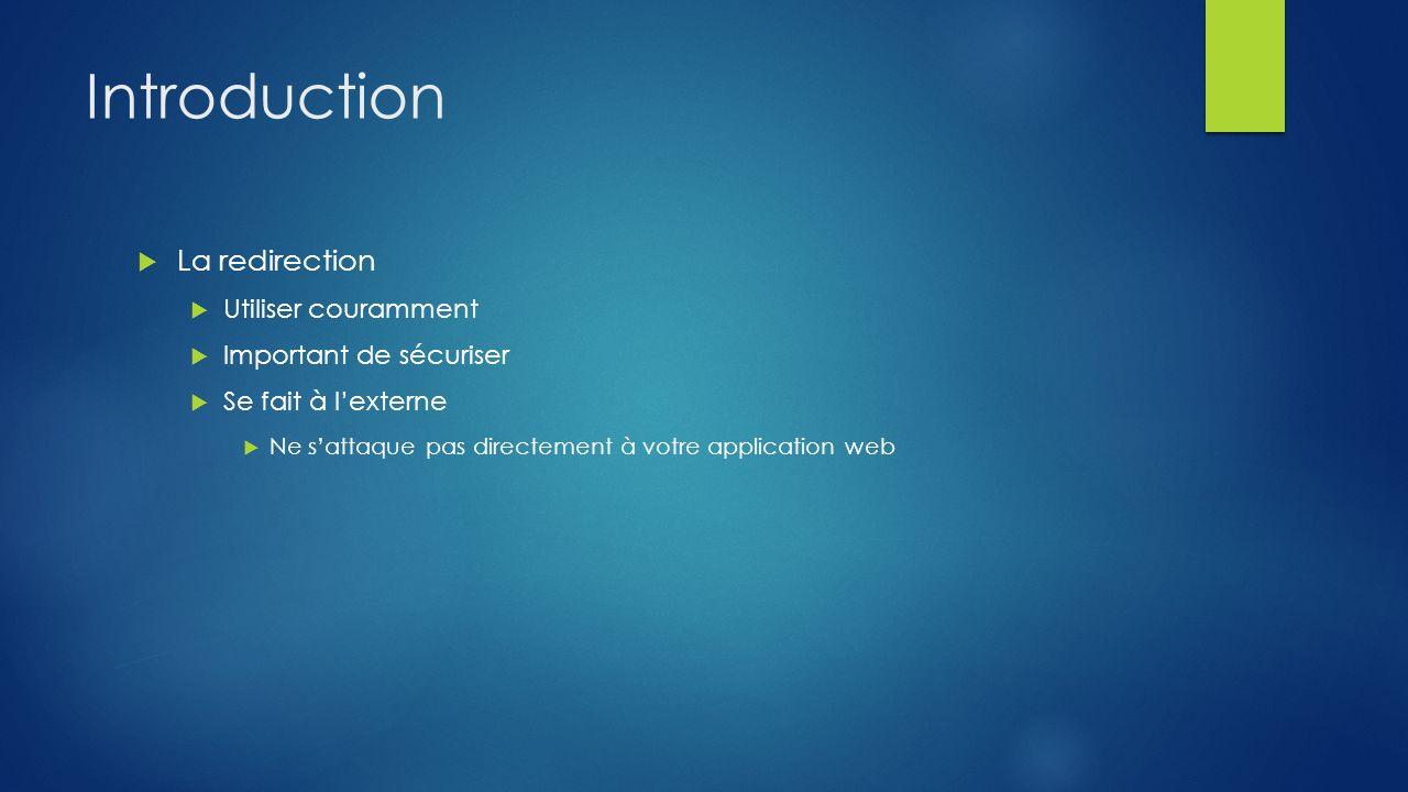 Introduction La redirection Utiliser couramment Important de sécuriser Se fait à lexterne Ne sattaque pas directement à votre application web