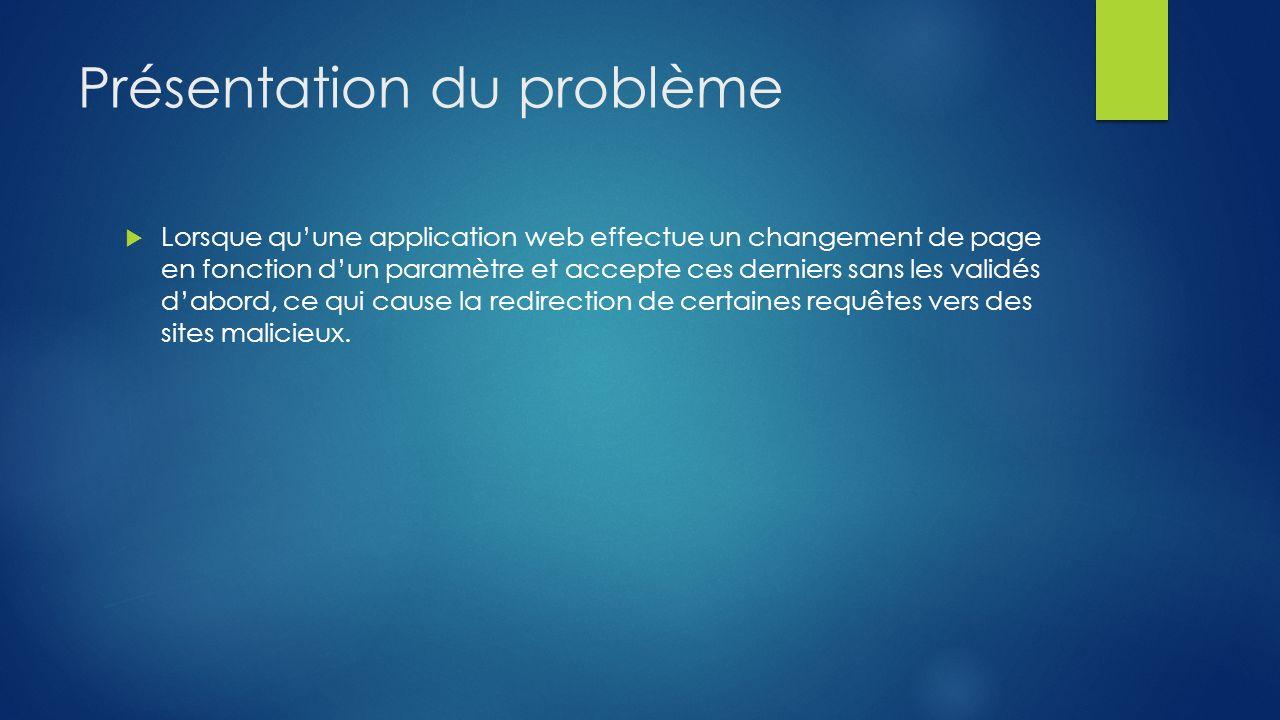 Présentation du problème Lorsque quune application web effectue un changement de page en fonction dun paramètre et accepte ces derniers sans les valid