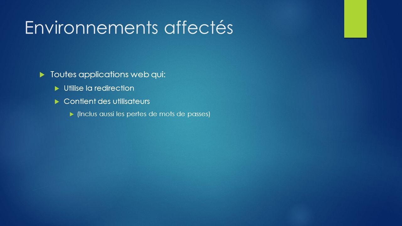 Environnements affectés Toutes applications web qui: Utilise la redirection Contient des utilisateurs (Inclus aussi les pertes de mots de passes)