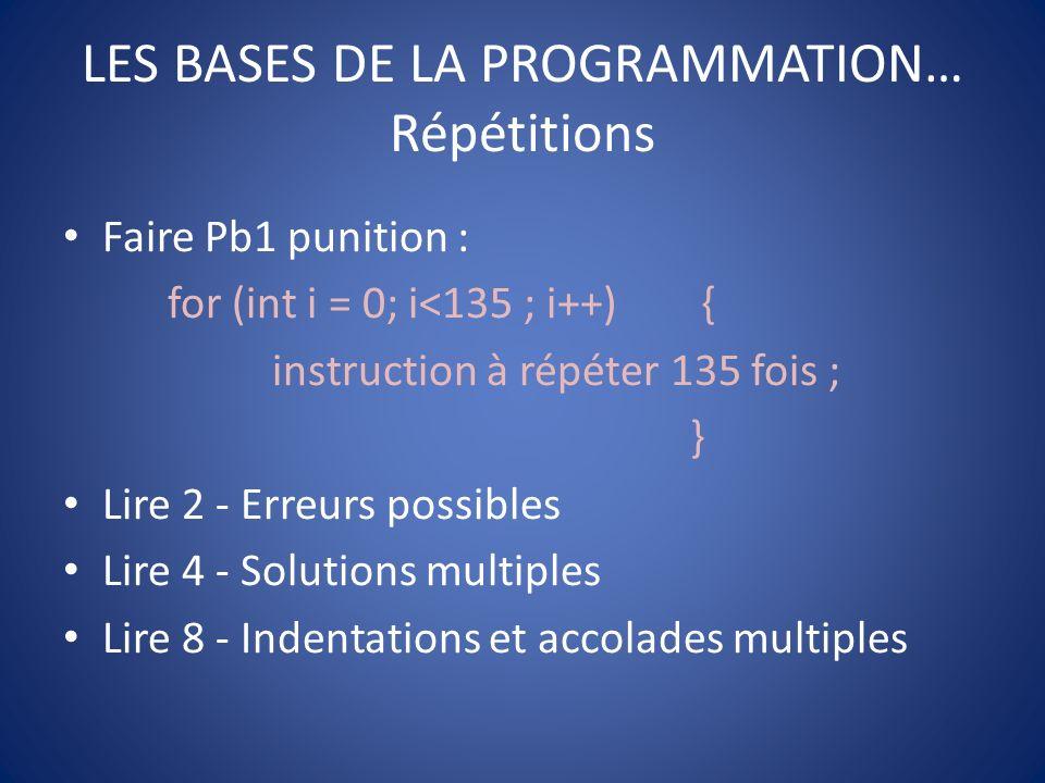 LES BASES DE LA PROGRAMMATION… Répétitions Faire Pb13-vendanges (Attention la proglet Franceioi dans javascool ne semble pas fonctionner).