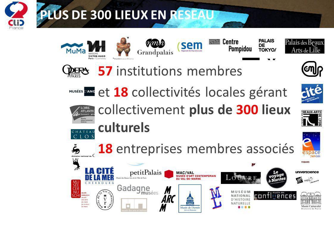 PLUS DE 300 LIEUX EN RESEAU 57 institutions membres et 18 collectivités locales gérant collectivement plus de 300 lieux culturels 18 entreprises membr