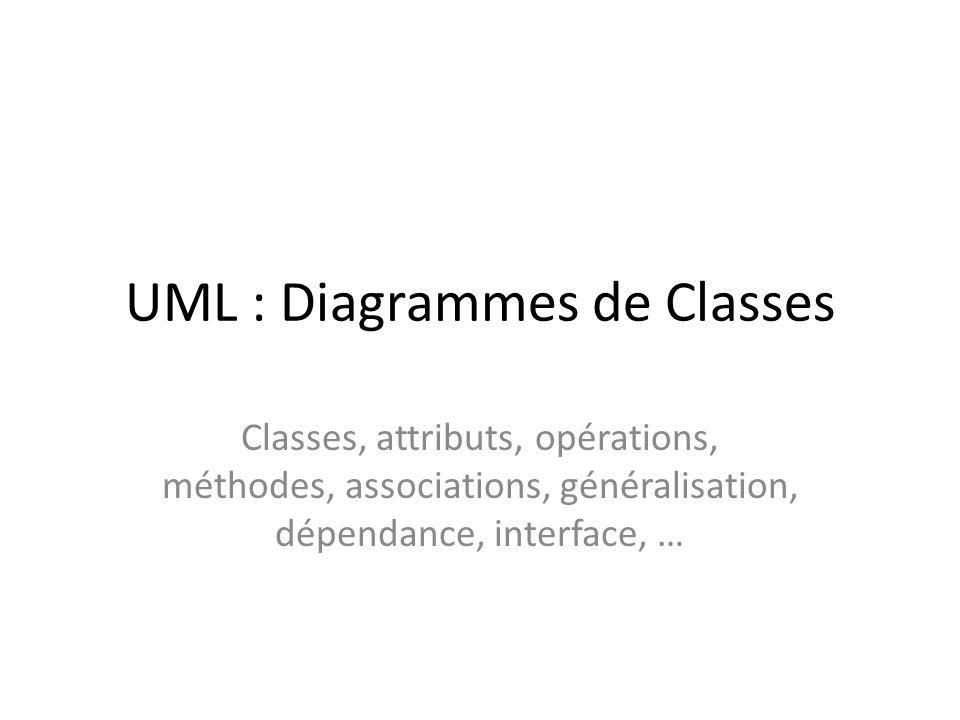 UML : Diagrammes de Classes Classes, attributs, opérations, méthodes, associations, généralisation, dépendance, interface, …