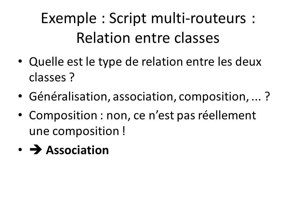 Exemple : Script multi-routeurs : Relation entre classes Quelle est le type de relation entre les deux classes .