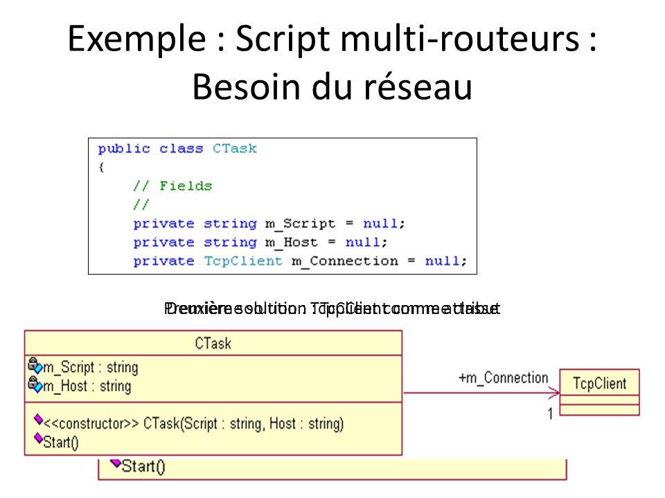 Exemple : Script multi-routeurs : Besoin du réseau Première solution : TcpClient comme attributDeuxième solution : TcpClient comme classe