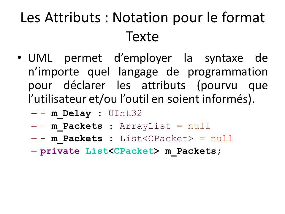 Les Attributs : Notation pour le format Texte UML permet demployer la syntaxe de nimporte quel langage de programmation pour déclarer les attributs (pourvu que lutilisateur et/ou loutil en soient informés).
