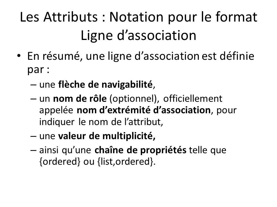 Les Attributs : Notation pour le format Ligne dassociation En résumé, une ligne dassociation est définie par : – une flèche de navigabilité, – un nom de rôle (optionnel), officiellement appelée nom dextrémité dassociation, pour indiquer le nom de lattribut, – une valeur de multiplicité, – ainsi quune chaîne de propriétés telle que {ordered} ou {list,ordered}.