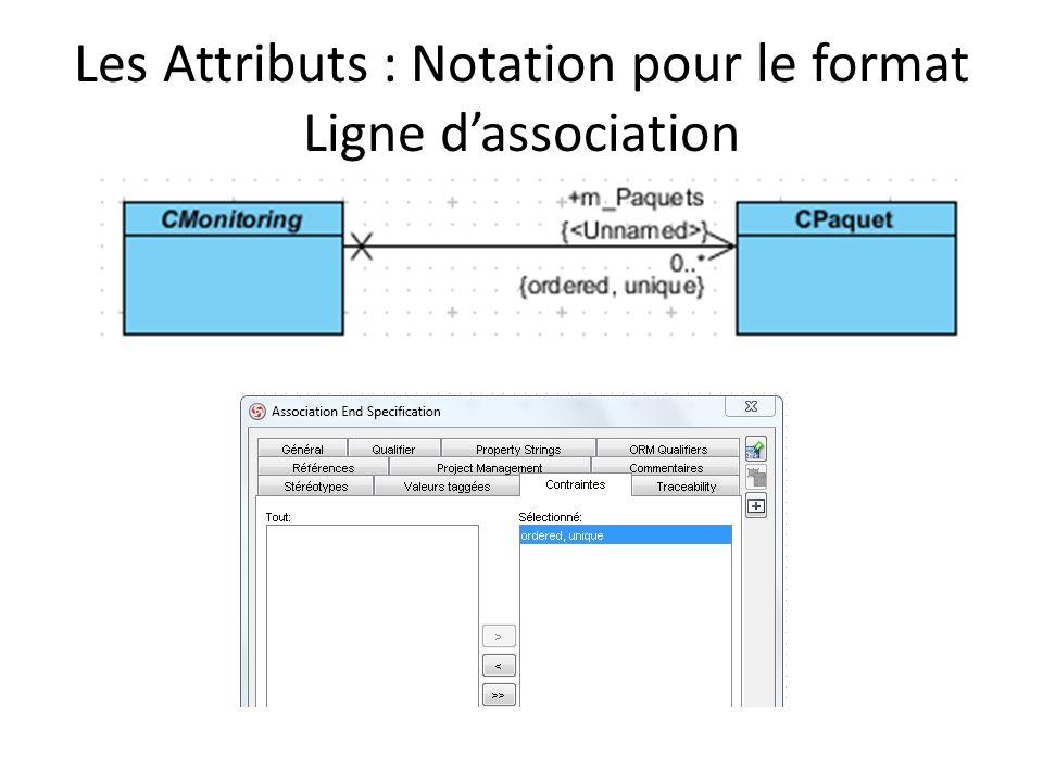 Les Attributs : Notation pour le format Ligne dassociation