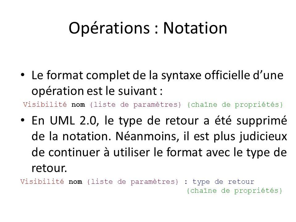 Opérations : Notation Le format complet de la syntaxe officielle dune opération est le suivant : Visibilité nom {liste de paramètres} {chaîne de propriétés} En UML 2.0, le type de retour a été supprimé de la notation.