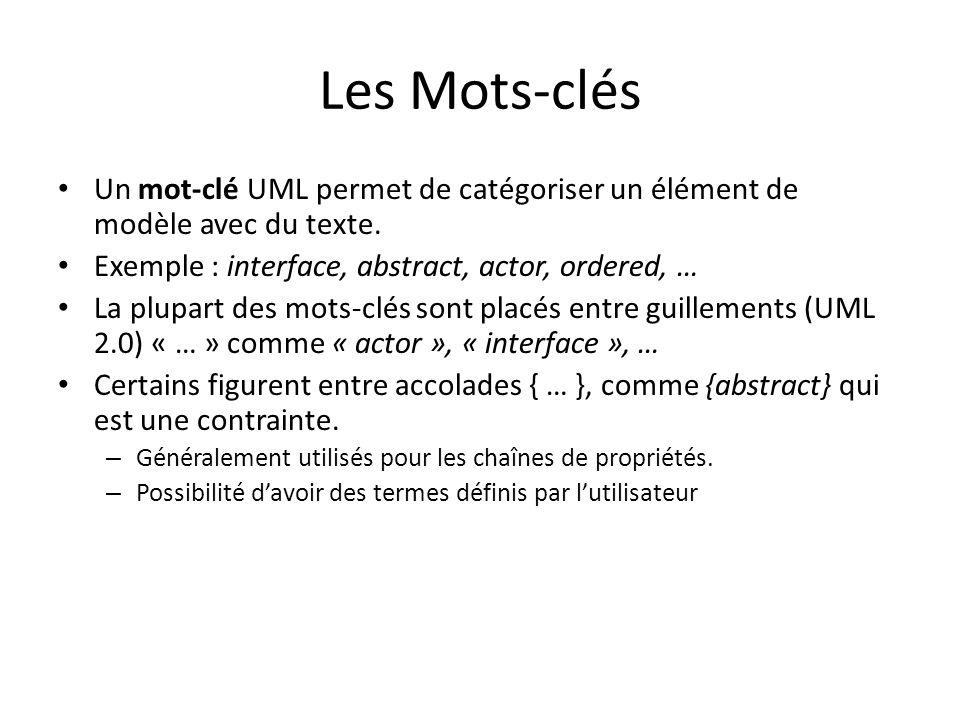 Les Mots-clés Un mot-clé UML permet de catégoriser un élément de modèle avec du texte.