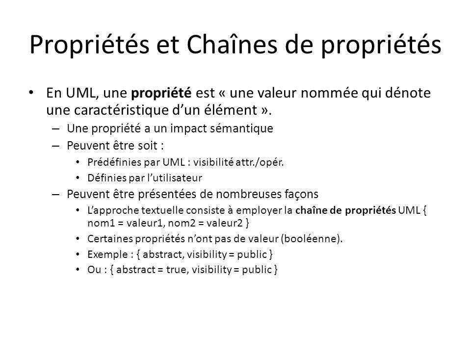 Propriétés et Chaînes de propriétés En UML, une propriété est « une valeur nommée qui dénote une caractéristique dun élément ».
