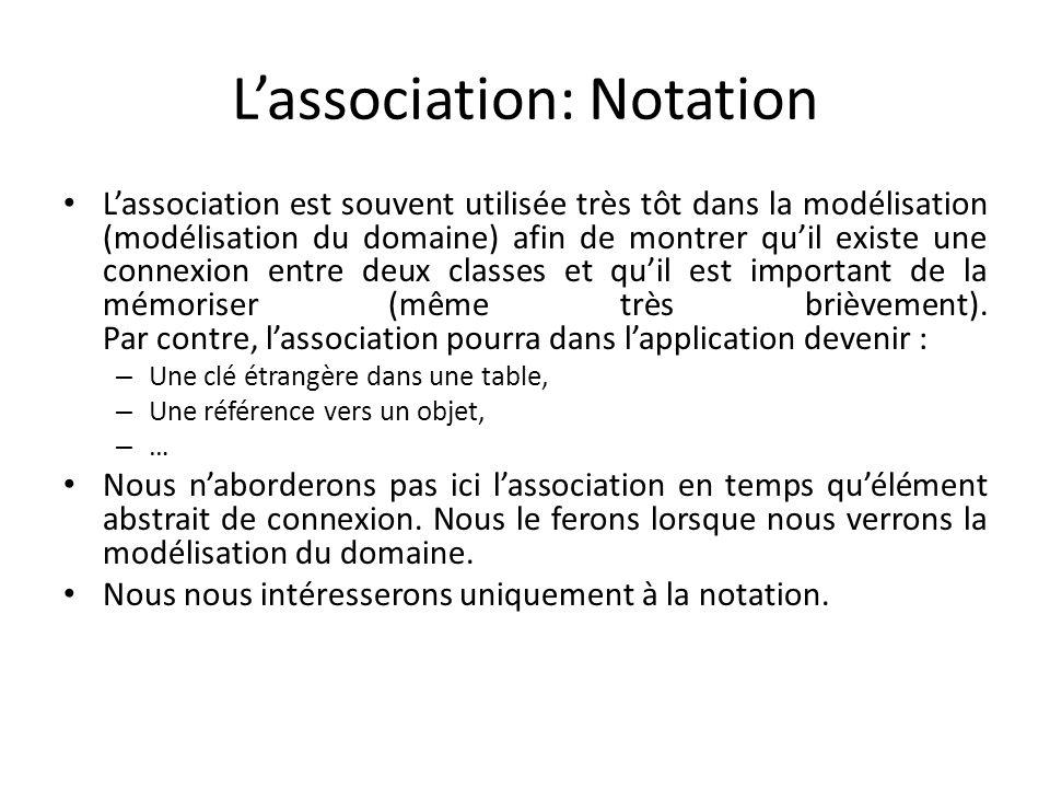 Lassociation: Notation Lassociation est souvent utilisée très tôt dans la modélisation (modélisation du domaine) afin de montrer quil existe une connexion entre deux classes et quil est important de la mémoriser (même très brièvement).