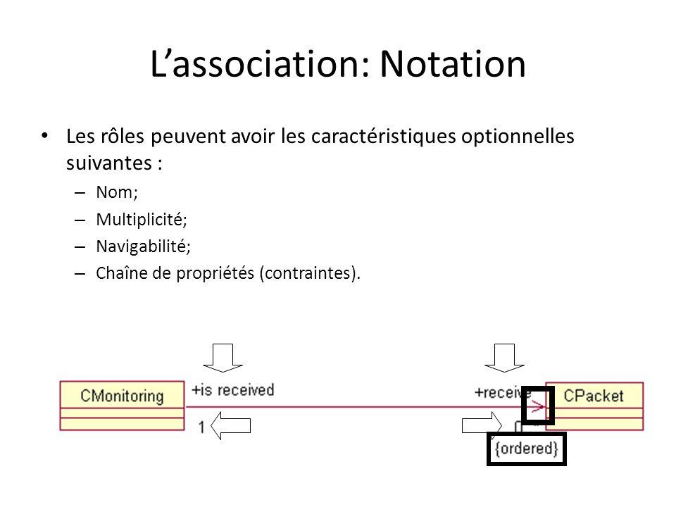Lassociation: Notation Les rôles peuvent avoir les caractéristiques optionnelles suivantes : – Nom; – Multiplicité; – Navigabilité; – Chaîne de propriétés (contraintes).