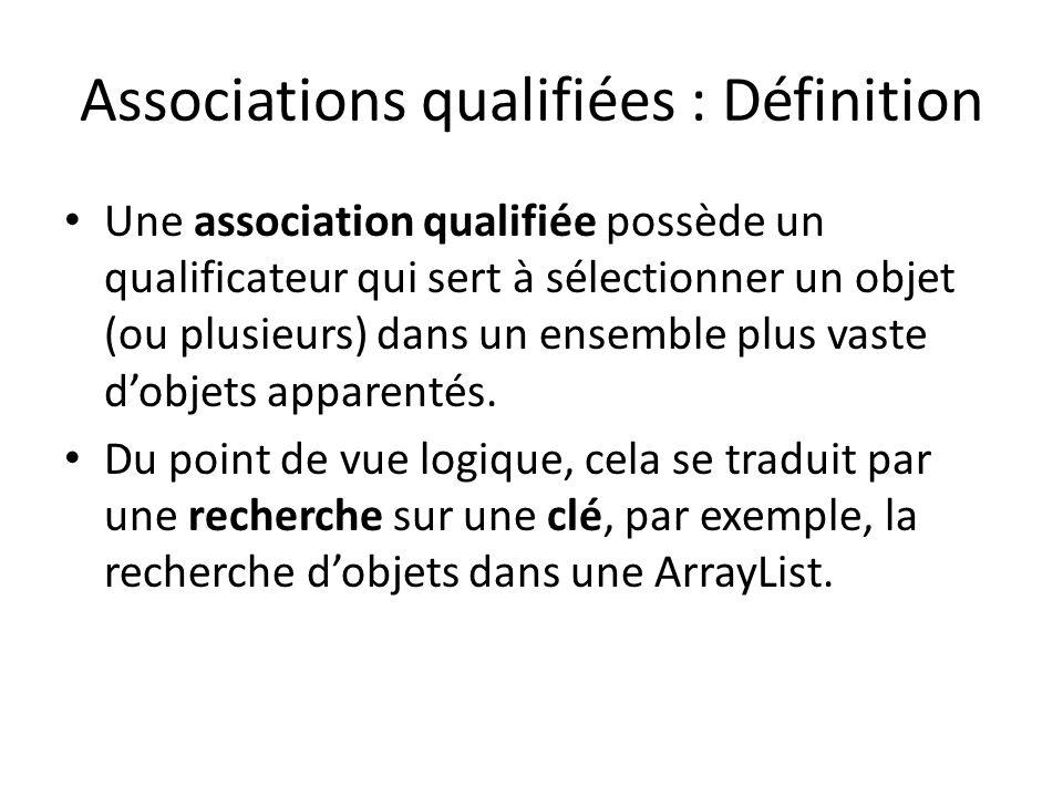 Associations qualifiées : Définition Une association qualifiée possède un qualificateur qui sert à sélectionner un objet (ou plusieurs) dans un ensemble plus vaste dobjets apparentés.