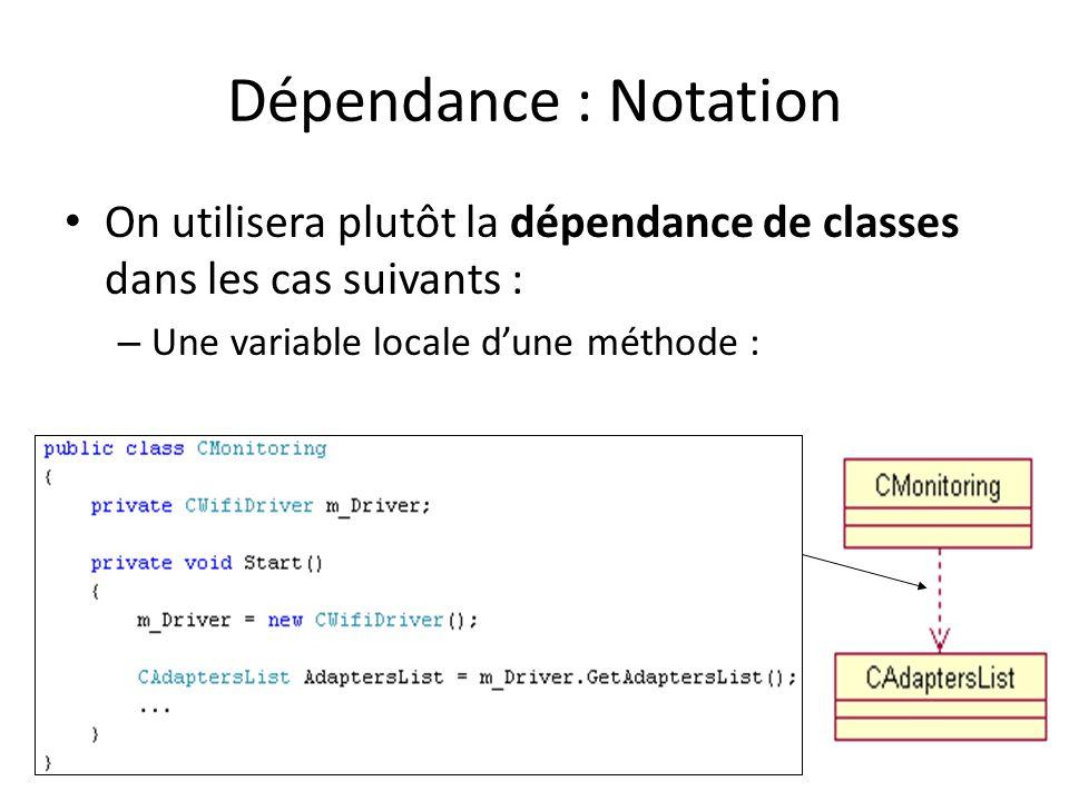 Dépendance : Notation On utilisera plutôt la dépendance de classes dans les cas suivants : – Une variable locale dune méthode : Dépendance
