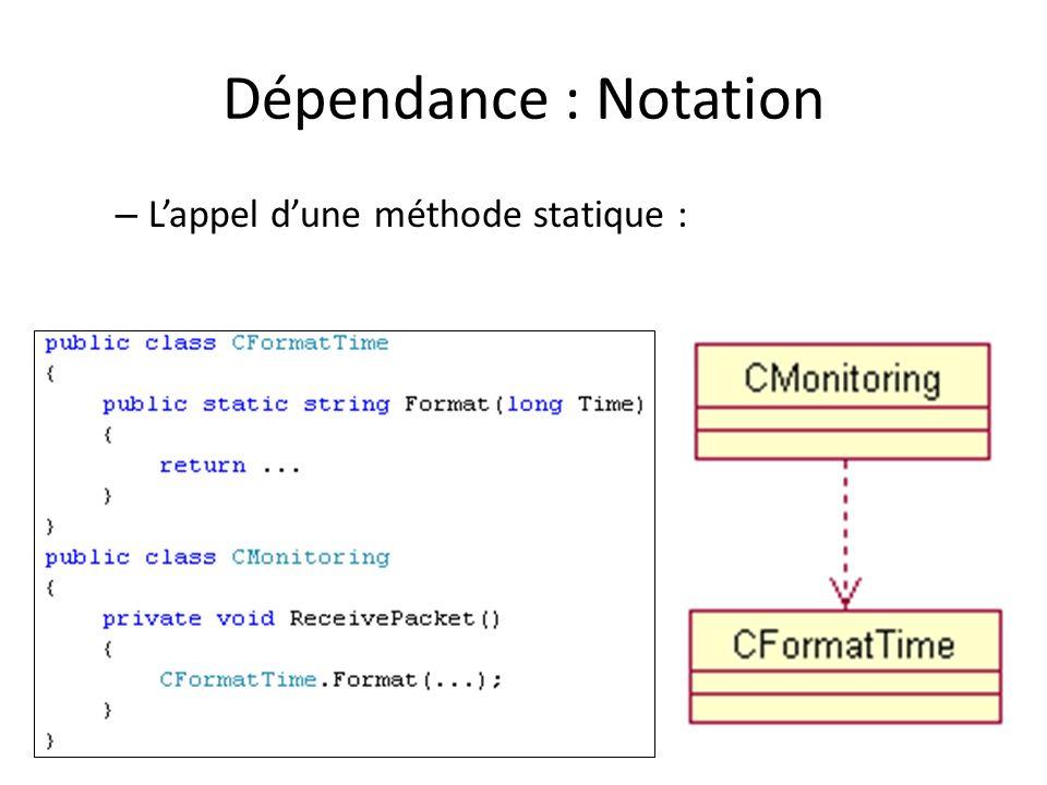 Dépendance : Notation – Lappel dune méthode statique :