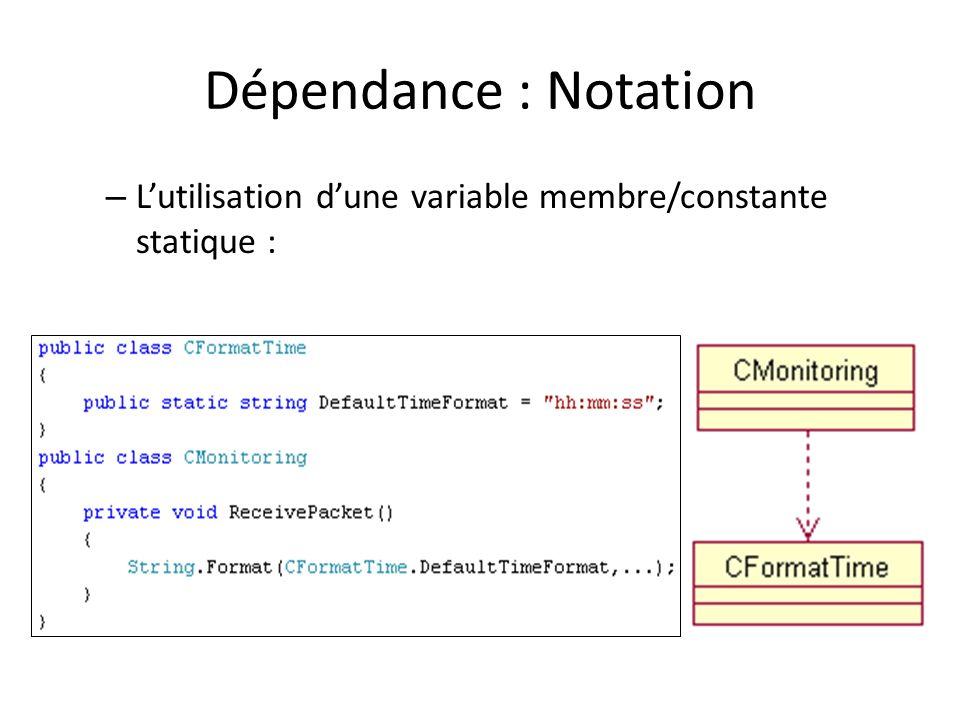 Dépendance : Notation – Lutilisation dune variable membre/constante statique :